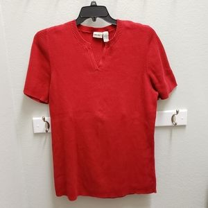 Cherokee Red 3X V-neck Short Sleeve Ribbed Sweater